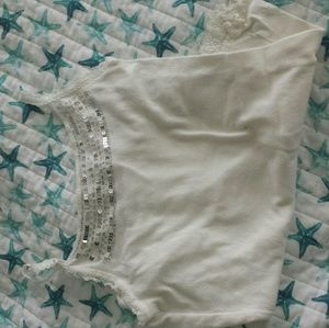 Justice White Sequined Camisole
